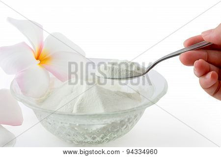 Collagen Powder Protein On Spoon Measure Isolated On White Background.