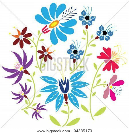 Colour Folk Floral Pattern In Circle On White Background