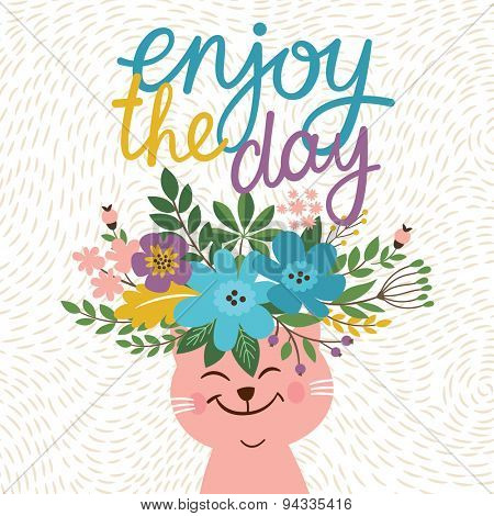 card design with cute cat, enjoy the day, head of cat with flowers