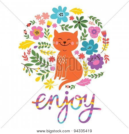 enjoy card design with cute cat