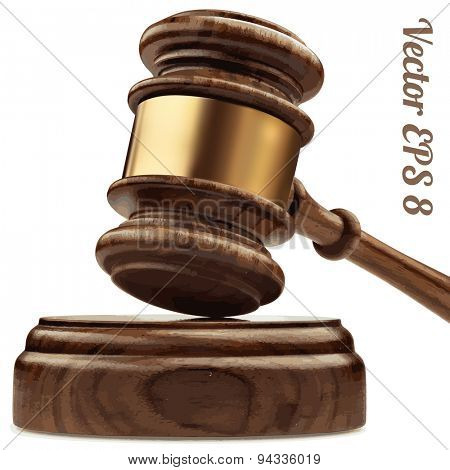 A wooden judge gavel and soundboard, vector illustration EPS 8.