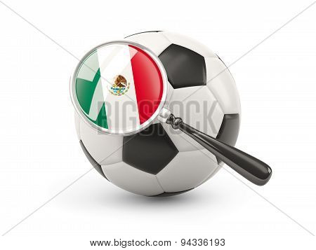 Football With Magnified Flag Of Mexico