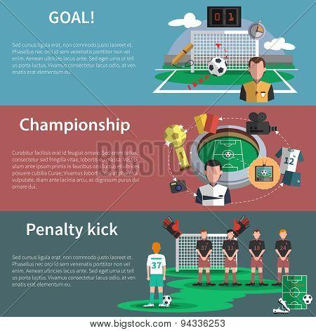 Soccer sport banners set
