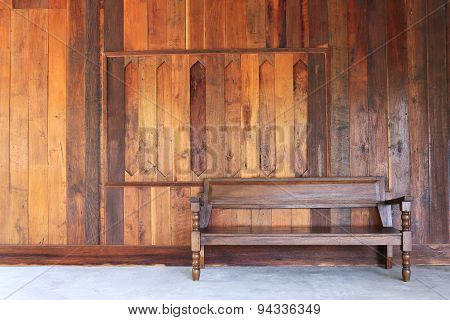 Interior Room With Wood Wall And Wood Bench