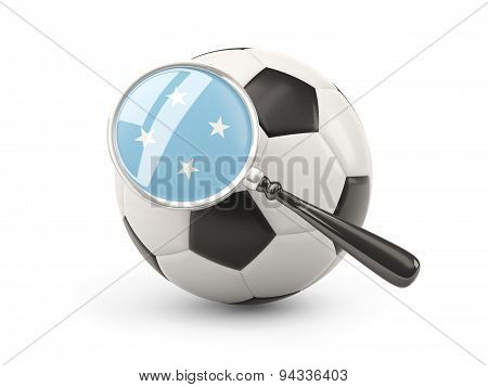 Football With Magnified Flag Of Micronesia