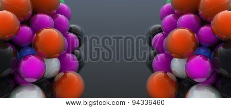 Two clusters of multicolored digitally generated bubbles floating on dark grey background