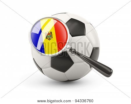 Football With Magnified Flag Of Moldova
