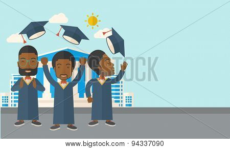 A smiling three men throwing graduation cap in the air. A Contemporary style with pastel palette, soft blue tinted background with desaturated clouds. Vector flat design illustration. Horizontal