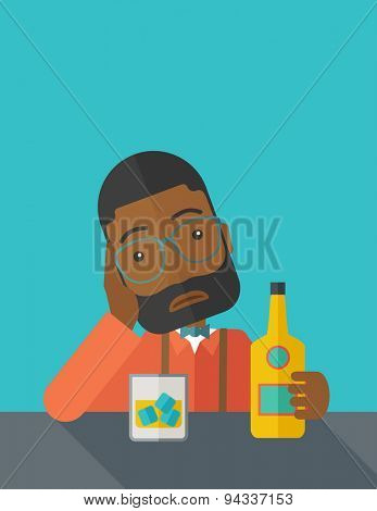 An african sad man is having a problem drinking beer in the bar. Depressed concept. A contemporary style with pastel palette dark blue tinted background. Vector flat design illustration. Square layout
