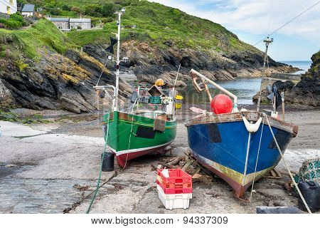 Fishing Boats On The Beach At Portloe