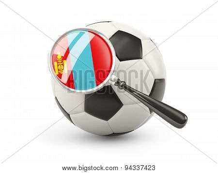 Football With Magnified Flag Of Mongolia