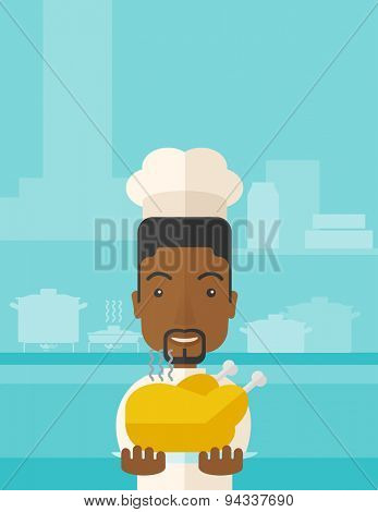 A black young chef presenting a tasty cooked turkey for thanksgiving celebration. A contemporary style with pastel palette blue tinted background. Vector flat design illustration. Vertical layout with