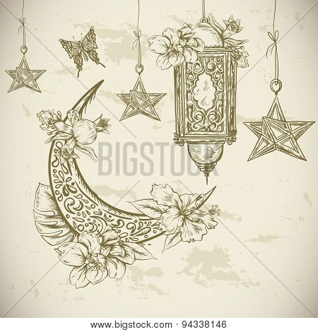 Traditional greeting card with arabic  lantern, flowers and stars