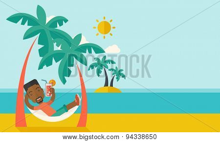 A young black guy on the beach relaxing and drinking cocktail under the heat of the sun with two coconut tree. A contemporary style with pastel palette blue tinted background with desaturated clouds