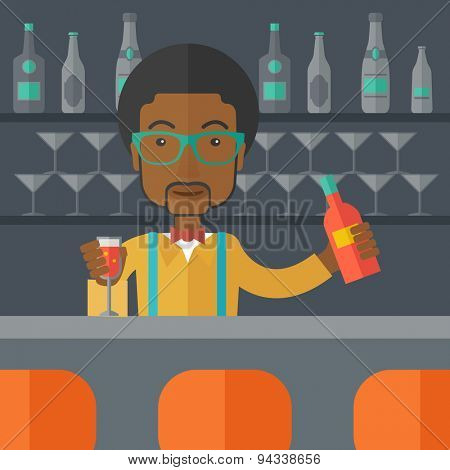 A young black bartender preparing a mixed drinks at a bar, several bottles of alcohol and wine glass behind him. A contemporary style with pastel palette black tinted background. Vector flat design