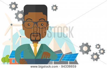 A mid adult male african engineer holding a blueprint in a solar panel. A Contemporary style with pastel palette, soft beige tinted background. Vector flat design illustration. Horizontal layout with