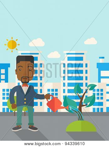A black guy watering the growing plant as improving economy. A Contemporary style with pastel palette, soft blue tinted background with desaturated clouds. Vector flat design illustration. Vertical