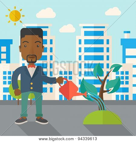 A black guy watering the growing plant as improving economy. A Contemporary style with pastel palette, soft blue tinted background with desaturated clouds. Vector flat design illustration. Square