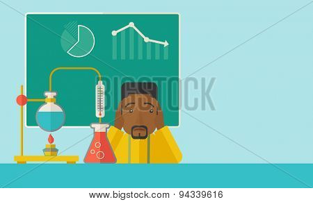 An african-american science teacher with scared facial expression works on mixing chemicals for an experiment in the laboratory. A Contemporary style with pastel palette, soft green tinted background