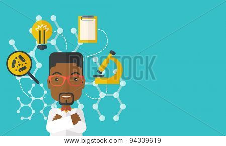A good looking intelligent black guy thinks about medical study. A Contemporary style with pastel palette, soft green tinted background. Vector flat design illustration. Horizontal layout with text