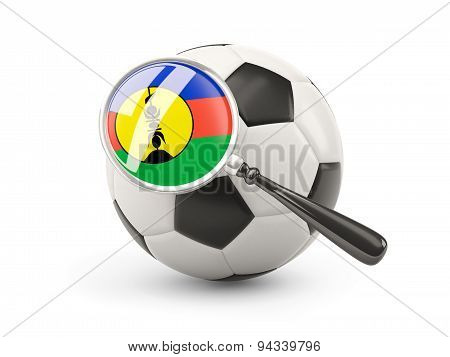 Football With Magnified Flag Of New Caledonia