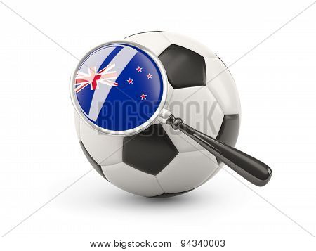 Football With Magnified Flag Of New Zealand