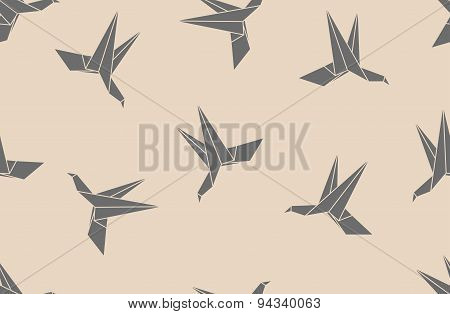 Seamless Pattern Background With Japanese Paper Origami Hummingbird.