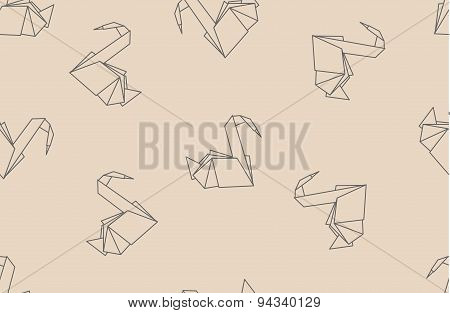 Japanese Origami Paper Cranes Seamless Pattern.