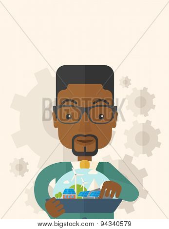 A mid adult male african engineer holding a blueprint in a solar panel. A Contemporary style with pastel palette, soft beige tinted background. Vector flat design illustration. Vertical layout with