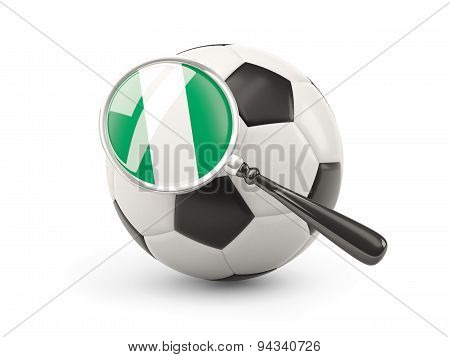 Football With Magnified Flag Of Nigeria