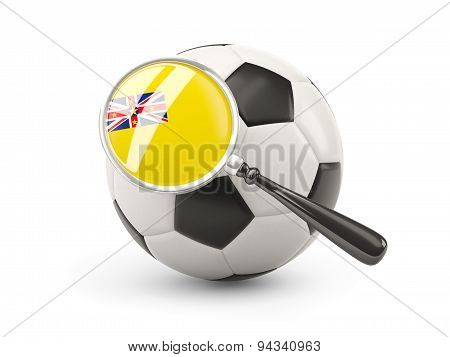 Football With Magnified Flag Of Niue
