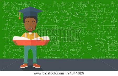 An african-american man standing and reading  a book, wearing graduation cap, representing to be graduated in studying or finished school or university. A Contemporary style with pastel palette, green