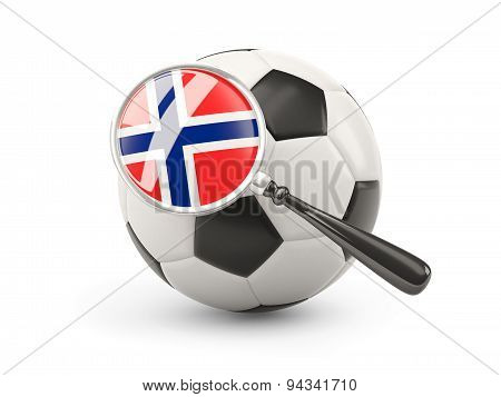 Football With Magnified Flag Of Norway
