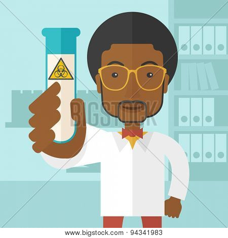 A young african-american scientists experimenting with glass tube inside the laboratory. A Contemporary style with pastel palette, soft blue tinted background. Vector flat design illustration. Square