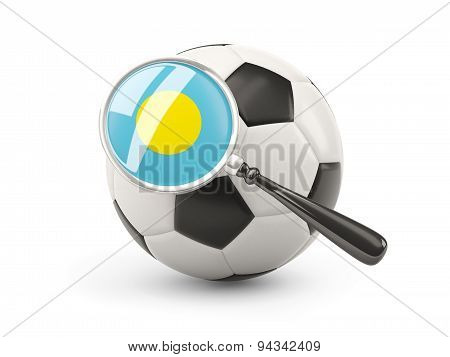 Football With Magnified Flag Of Palau