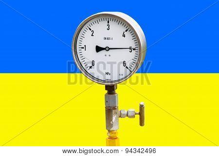 Wellhead Pressure Gauge On Flag Ukraine
