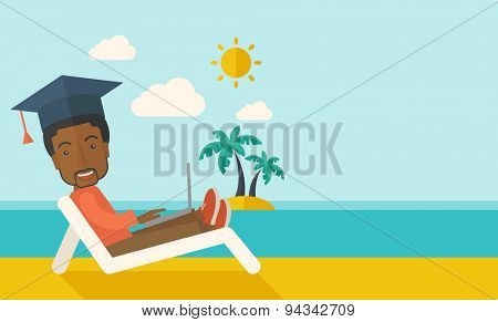 A young african man sitting, wearing graduation cap with laptop on the beach under the sun. A Contemporary style with pastel palette, soft blue tinted background with desaturated clouds. Vector flat