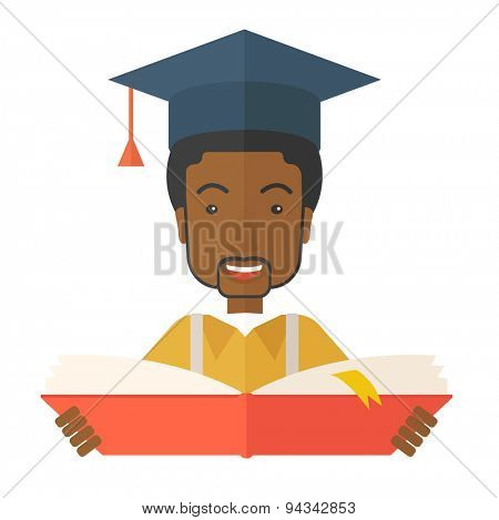 Black Man reading  a book, wearing graduation cap, representing to be graduated in studying or finished school or university. A Contemporary style. Vector flat design illustration isolated white