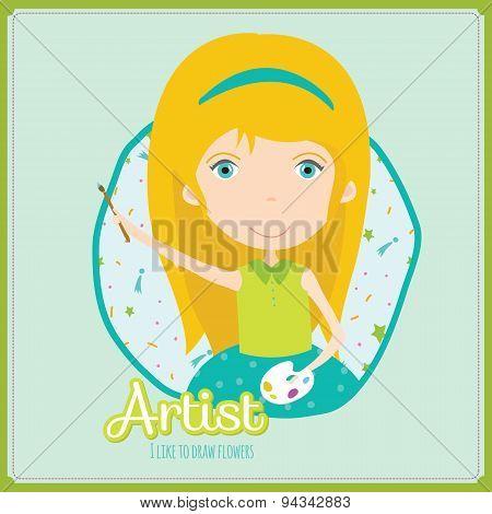 Cute vector alphabet Profession