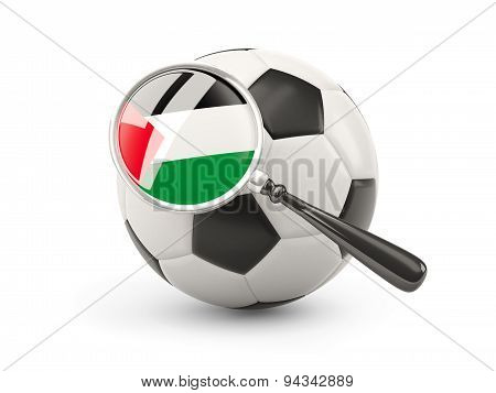 Football With Magnified Flag Of Palestinian Territory