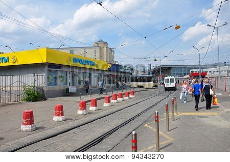 MOSCOW, RUSSIA - 15.06.2015. The tram rides on rails. Every day go on a city 1,000 trams
