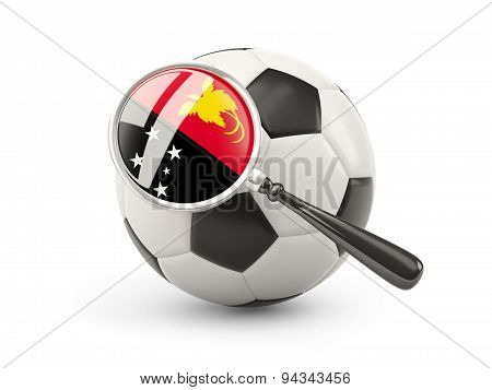 Football With Magnified Flag Of Papua New Guinea