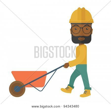 A black male gardener wearing hard hat pushing a wheelbarrow. A Contemporary style. Vector flat design illustration isolated white background. Square layout