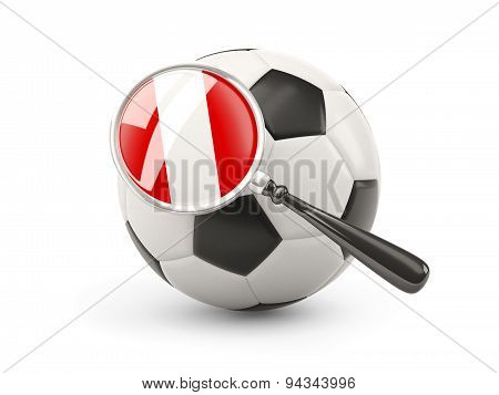 Football With Magnified Flag Of Peru