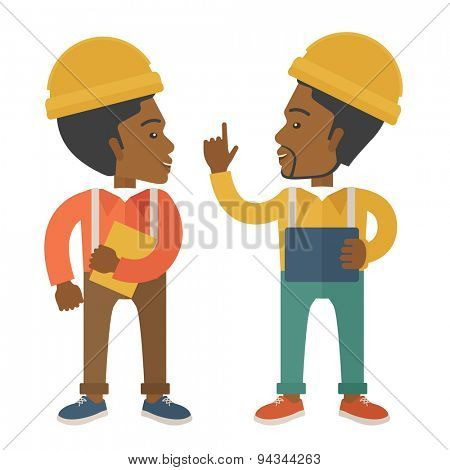 Two black workers wearing hard hat talking.  A Contemporary style. Vector flat design illustration isolated white background. Square layout.