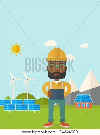 A young african male standing while holding a blueprint monitoring the solar panels with wind turbine. A Contemporary style with pastel palette, soft blue tinted background with desaturated clouds