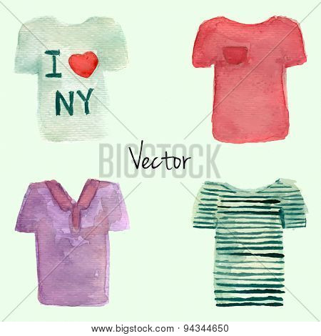 Watercolor painted T-shirt set. Vector illustration. White, red, violet polo and striped t-shirt illustration