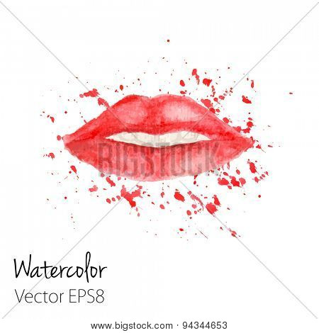 Red Lips with splashes painted in watercolor. Vector illustration for your design