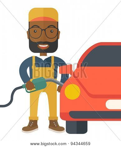 A happy gasoline boy filling up fuel into the car.  A Contemporary style. Vector flat design illustration isolated white background. Vertical layout.
