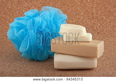 Soap Bars And A Bath Sponge